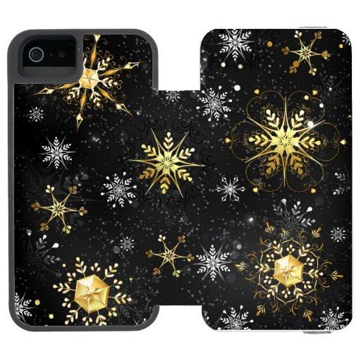Xmas Golden Snowflakes on Black Background iPhone SE/5/5s Wallet Case