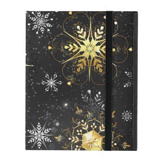 Xmas Golden Snowflakes on Black Background iPad Case