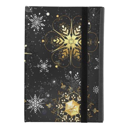 Xmas Golden Snowflakes on Black Background iPad Mini 4 Case