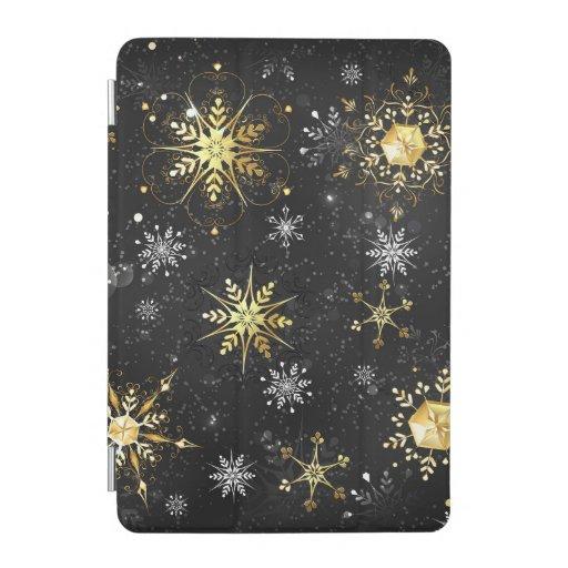 Xmas Golden Snowflakes on Black Background iPad Mini Cover