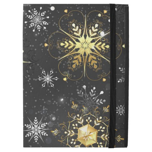 "Xmas Golden Snowflakes on Black Background iPad Pro 12.9"" Case"