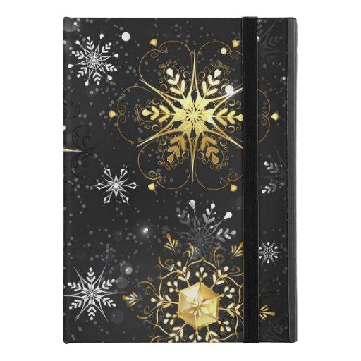 "Xmas Golden Snowflakes on Black Background iPad Pro 9.7"" Case"