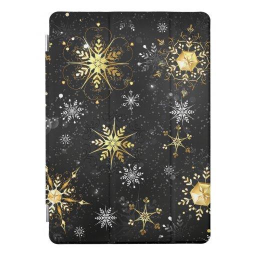 Xmas Golden Snowflakes on Black Background iPad Pro Cover