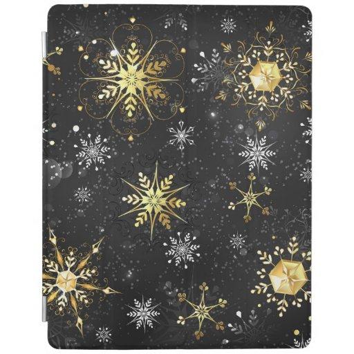 Xmas Golden Snowflakes on Black Background iPad Smart Cover