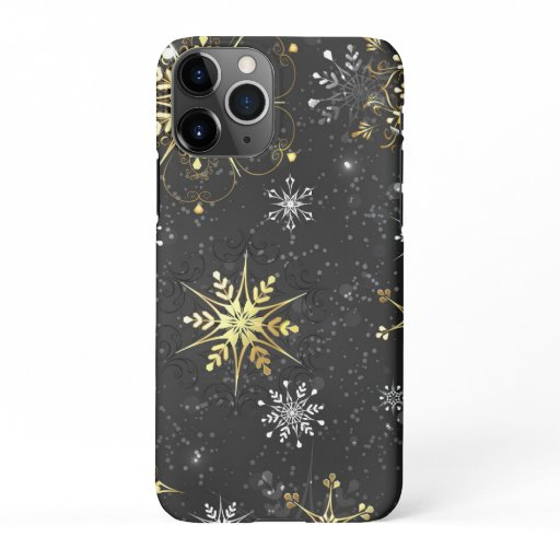 Xmas Golden Snowflakes on Black Background iPhone 11Pro Case