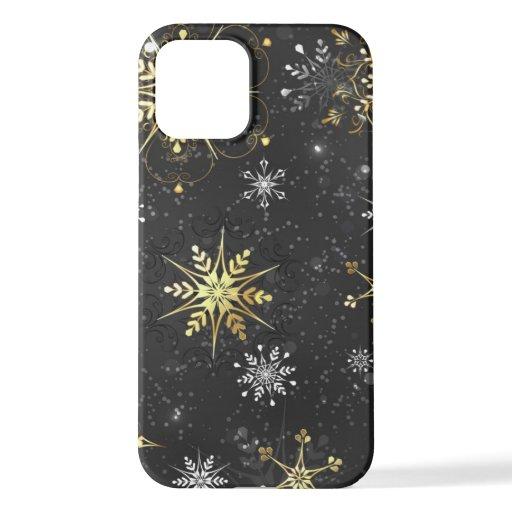 Xmas Golden Snowflakes on Black Background iPhone 12 Case