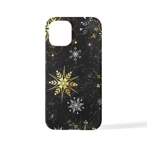 Xmas Golden Snowflakes on Black Background iPhone 12 Mini Case