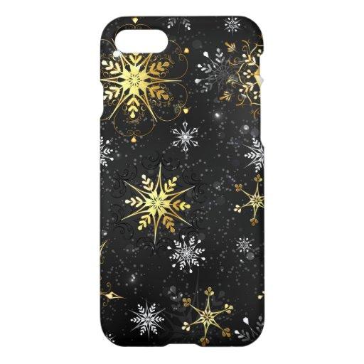 Xmas Golden Snowflakes on Black Background iPhone 8/7 Case