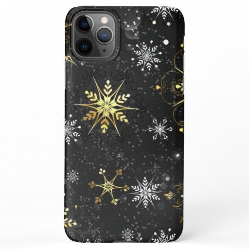 Xmas Golden Snowflakes on Black Background iPhone 11Pro Max Case