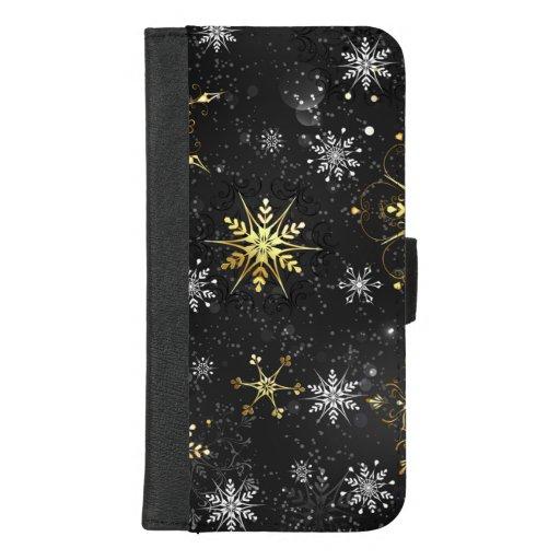 Xmas Golden Snowflakes on Black Background iPhone 8/7 Plus Wallet Case