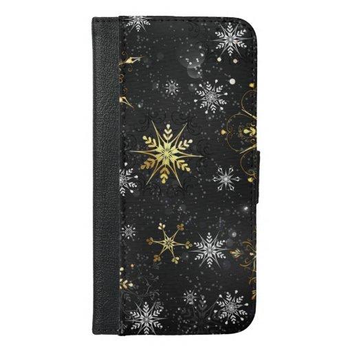 Xmas Golden Snowflakes on Black Background iPhone 6/6s Plus Wallet Case