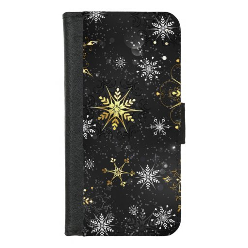 Xmas Golden Snowflakes on Black Background iPhone 8/7 Wallet Case