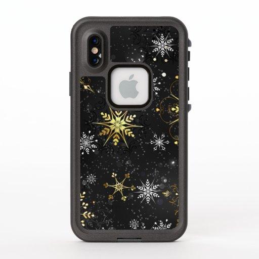 Xmas Golden Snowflakes on Black Background