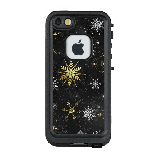 Xmas Golden Snowflakes on Black Background LifeProof FRĒ iPhone SE/5/5s Case