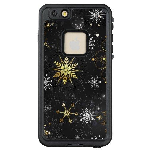Xmas Golden Snowflakes on Black Background LifeProof FRĒ iPhone 6/6s Plus Case