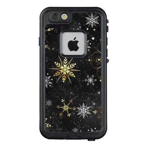 Xmas Golden Snowflakes on Black Background LifeProof FRĒ iPhone 6/6s Case
