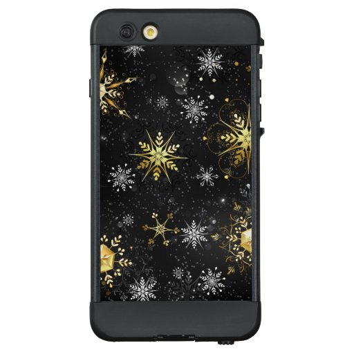 Xmas Golden Snowflakes on Black Background LifeProof NÜÜD iPhone 6 Plus Case