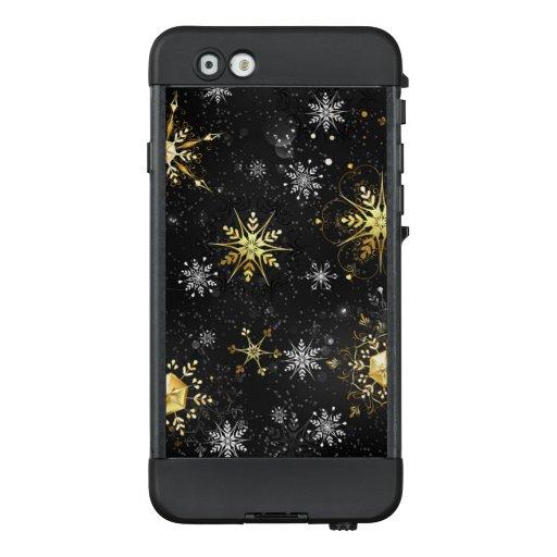 Xmas Golden Snowflakes on Black Background LifeProof NÜÜD iPhone 6 Case