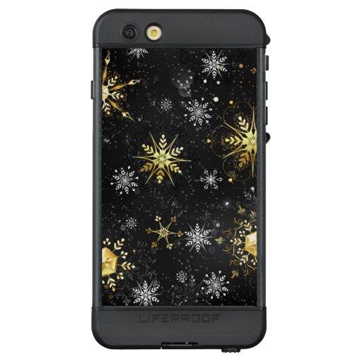 Xmas Golden Snowflakes on Black Background LifeProof NÜÜD iPhone 6s Plus Case