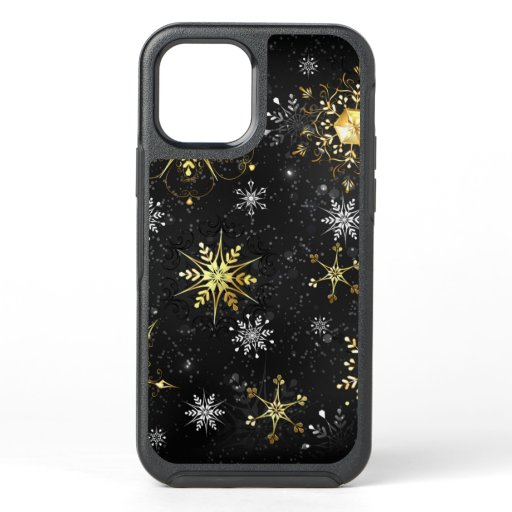 Xmas Golden Snowflakes on Black Background OtterBox Symmetry iPhone 12 Pro Case
