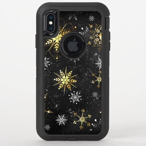 Xmas Golden Snowflakes on Black Background OtterBox Defender iPhone XS Max Case