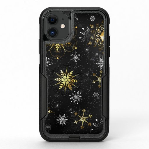 Xmas Golden Snowflakes on Black Background OtterBox Commuter iPhone 11 Case