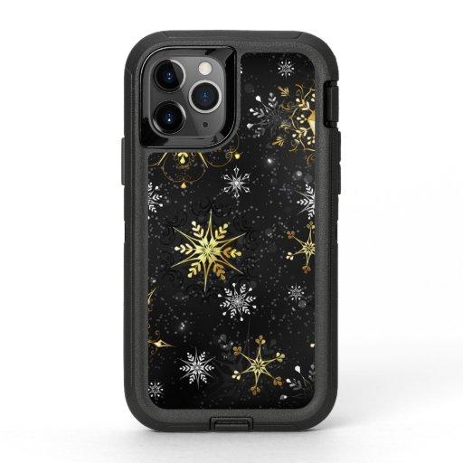 Xmas Golden Snowflakes on Black Background OtterBox Defender iPhone 11 Pro Case