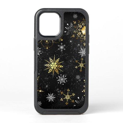 Xmas Golden Snowflakes on Black Background OtterBox Symmetry iPhone 12 Mini Case