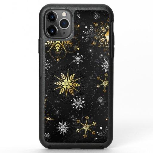 Xmas Golden Snowflakes on Black Background OtterBox Symmetry iPhone 11 Pro Max Case