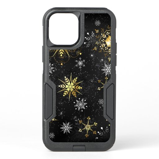 Xmas Golden Snowflakes on Black Background OtterBox Commuter iPhone 12 Pro Case