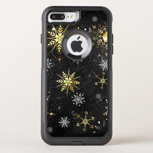 Xmas Golden Snowflakes on Black Background OtterBox Commuter iPhone 8 Plus/7 Plus Case