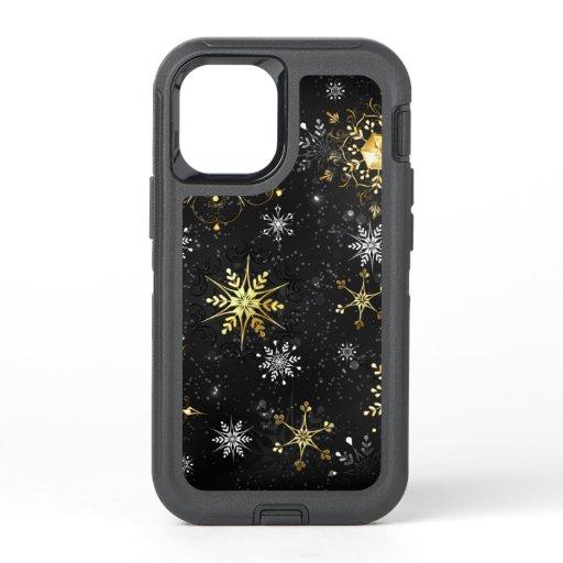 Xmas Golden Snowflakes on Black Background OtterBox Defender iPhone 12 Mini Case