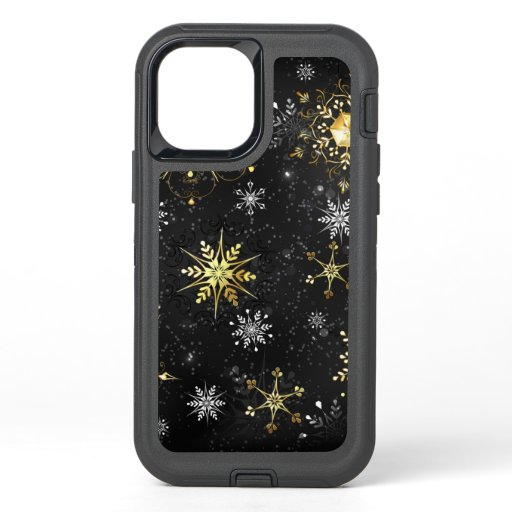 Xmas Golden Snowflakes on Black Background OtterBox Defender iPhone 12 Case