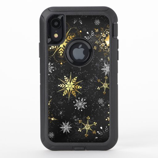 Xmas Golden Snowflakes on Black Background OtterBox Defender iPhone XR Case