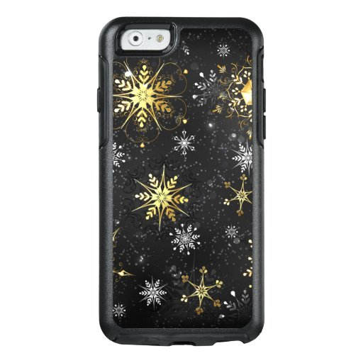 Xmas Golden Snowflakes on Black Background OtterBox iPhone 6/6s Case