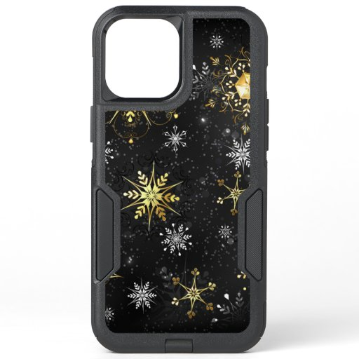 Xmas Golden Snowflakes on Black Background OtterBox Commuter iPhone 12 Pro Max Case