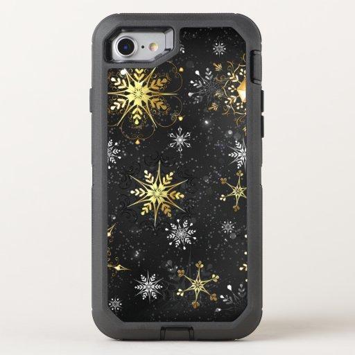Xmas Golden Snowflakes on Black Background OtterBox Defender iPhone SE/8/7 Case