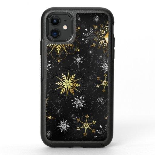 Xmas Golden Snowflakes on Black Background OtterBox Symmetry iPhone 11 Case