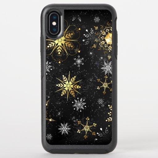 Xmas Golden Snowflakes on Black Background OtterBox Symmetry iPhone XS Max Case