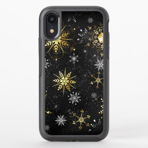 Xmas Golden Snowflakes on Black Background OtterBox Symmetry iPhone XR Case