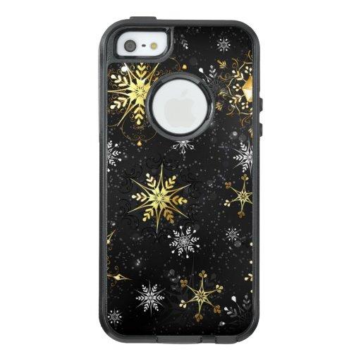 Xmas Golden Snowflakes on Black Background OtterBox iPhone 5/5s/SE Case