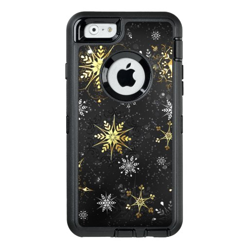 Xmas Golden Snowflakes on Black Background OtterBox Defender iPhone Case