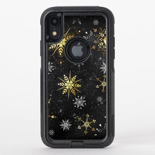 Xmas Golden Snowflakes on Black Background OtterBox Commuter iPhone XR Case