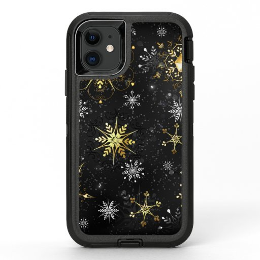 Xmas Golden Snowflakes on Black Background OtterBox Defender iPhone 11 Case