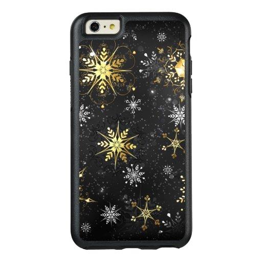 Xmas Golden Snowflakes on Black Background OtterBox iPhone 6/6s Plus Case