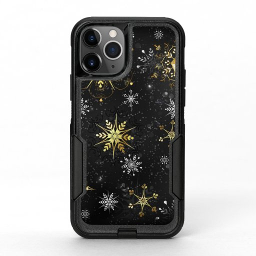 Xmas Golden Snowflakes on Black Background OtterBox Commuter iPhone 11 Pro Case