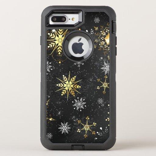 Xmas Golden Snowflakes on Black Background OtterBox Defender iPhone 8 Plus/7 Plus Case