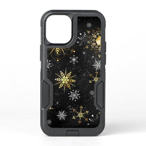 Xmas Golden Snowflakes on Black Background OtterBox Commuter iPhone 12 Mini Case