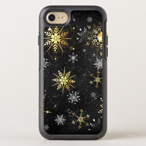 Xmas Golden Snowflakes on Black Background OtterBox Symmetry iPhone SE/8/7 Case