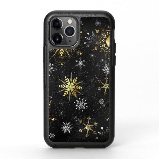 Xmas Golden Snowflakes on Black Background OtterBox Symmetry iPhone 11 Pro Case